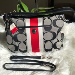 Coach Hampton Signature Stripe Sateen Hippie Bag